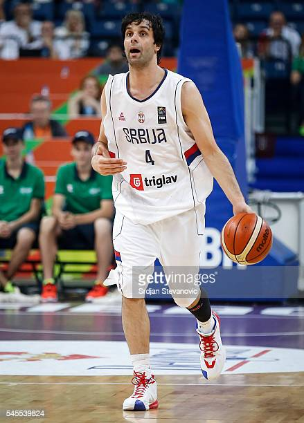 Milos Teodosic of Serbia in action during the 2016 FIBA World Olympic Qualifying basketball Semi Final match between Serbia and Czech Republic at...