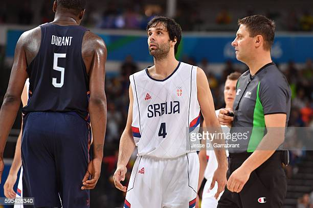 Milos Teodosic of Serbia looks on against the USA Basketball Men's National Team during the Gold Medal Game on Day 16 of the Rio 2016 Olympic Games...