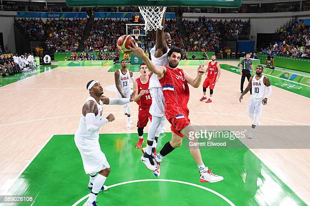 Milos Teodosic of Serbia passes the ball against the USA Basketball Men's National Team on Day 7 of the Rio 2016 Olympic Games at Carioca Arena 1 on...