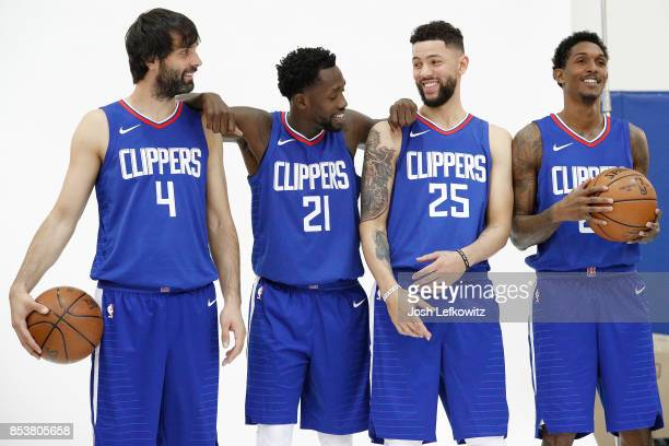 Milos Teodosic Patrick Beverly Austin Rivers and Lou Williams of the Los Angeles Clippers pose for a photo during media day at the Los Angeles...