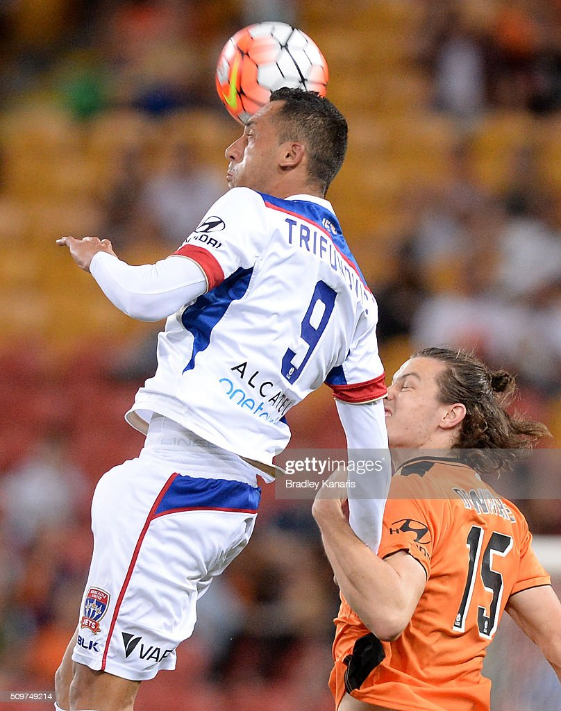 Milos Trifunovic of the Jets gets above James Donachie of the Roar during the round 19 A-League match between the Brisbane Roar and the Newcastle Jets at Suncorp Stadium on February 12, 2016 in Brisbane, Australia.