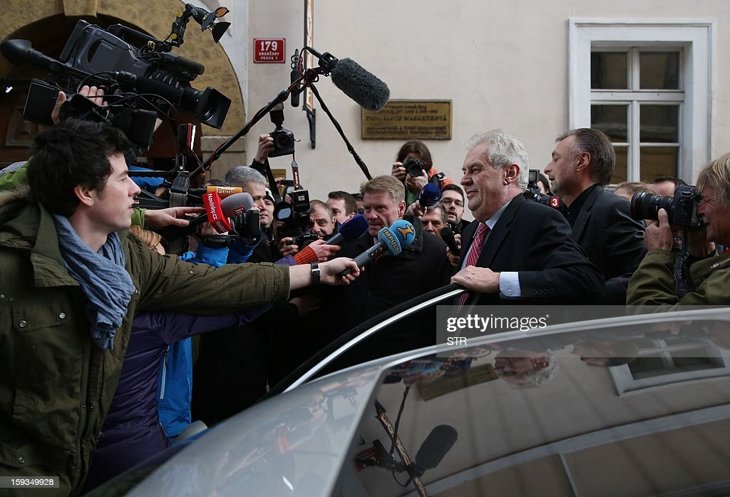 Milos Zeman talks to journalists on January 12, 2013 as he arrives at his headquarters in Prague. Leftist ex-premier Milos Zeman and Foreign Minister Karel Schwarzenberg will face off in the January 25-26 presidential runoff in the country's first-ever direct vote for a head of state, final results showed Saturday.