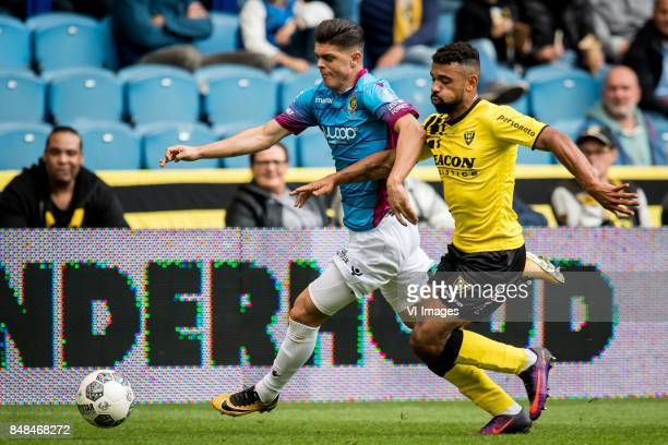 Milot Rashica of Vitesse Leroy Labylle of VVV during the Dutch Eredivisie match between Vitesse Arnhem and VVV Venlo at Gelredome on September 17...