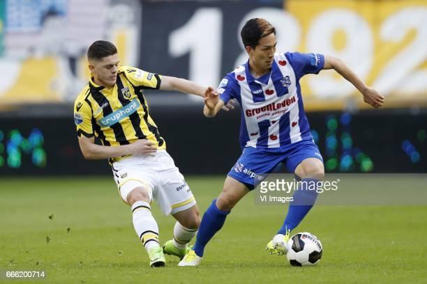 Milot Rashica of Vitesse Yuki Kobayashi of sc Heerenveenduring the Dutch Eredivisie match between Vitesse Arnhem and sc Heerenveen at Gelredome on...