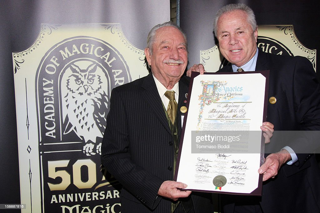 Milt Larsen (L) and <a gi-track='captionPersonalityLinkClicked' href=/galleries/search?phrase=Tom+LaBonge&family=editorial&specificpeople=220711 ng-click='$event.stopPropagation()'>Tom LaBonge</a> attend the Academy of Magical Arts & The Magic Castle 50th anniversary gala held at The Magic Castle on January 2, 2013 in Hollywood, California.