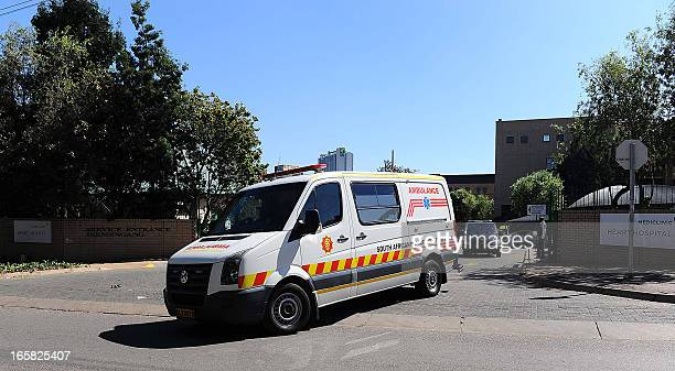 A miltary ambulance allegedly carrying former South African President Nelson Mandela leaves the Mediclinic Heart Hospital on April 6 2013 in Pretoria...