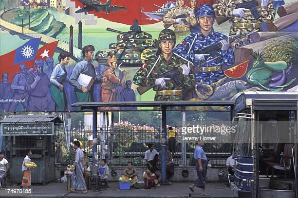 Miltary propoganda mural above bus terminus in Yangon