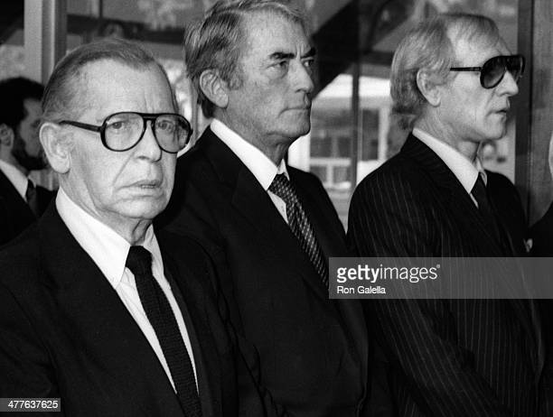 Milton Berle Gregory Peck and Richard Harris attend David Janssen Funeral Service on February 17 1980 at Hillside Memorial Cemetary in Los Angeles...