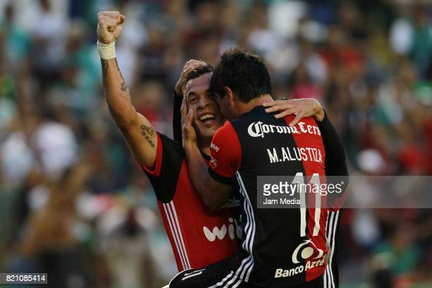 Milton Caraglio of Atlas celebrates after scoring his team's third goal during the 1st round match between Leon and Atlas as part of the Torneo...
