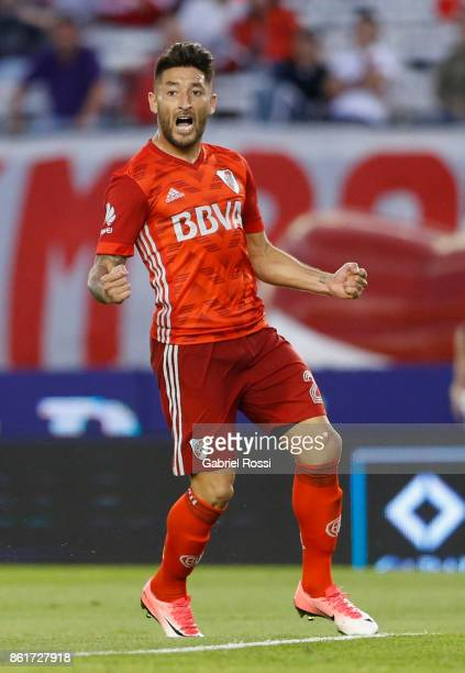 Milton Casco of River Plate celebrates after scoring the first goal of his team during a match between River Plate and Atletico de Tucuman as part of...