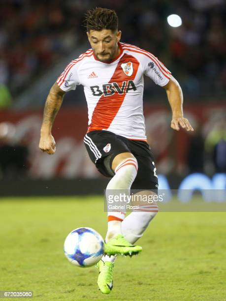 Milton Casco of River Plate controls the ball during a match between River Plate and Sarmiento as part of Torneo Primera Division 2016/17 at...