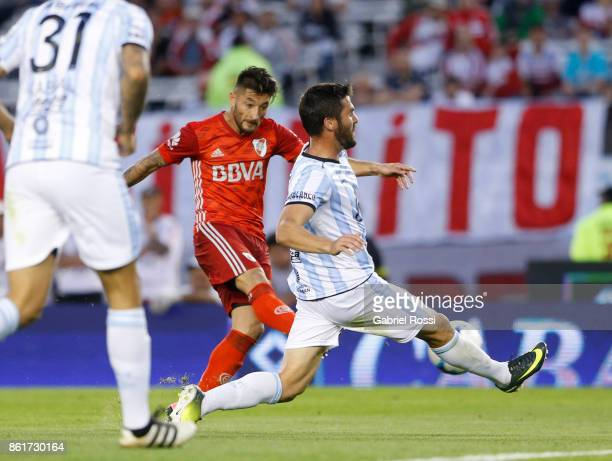 Milton Casco of River Plate kicks the ball to score the first goal of his team during a match between River Plate and Atletico de Tucuman as part of...