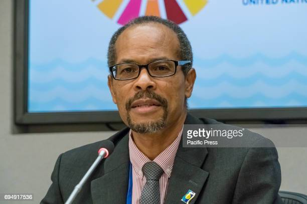 Milton Haughton speaks with the press On the penultimate day of the weeklong United Nations highlevel 'Ocean Conference' at UN Headquarters in New...