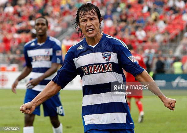 Milton Rodriguez of FC Dallas celebrates late 2nd half goal against Toronto FC at BMO Field during a MLS game July 24 2010 in Toronto Ontario Canada