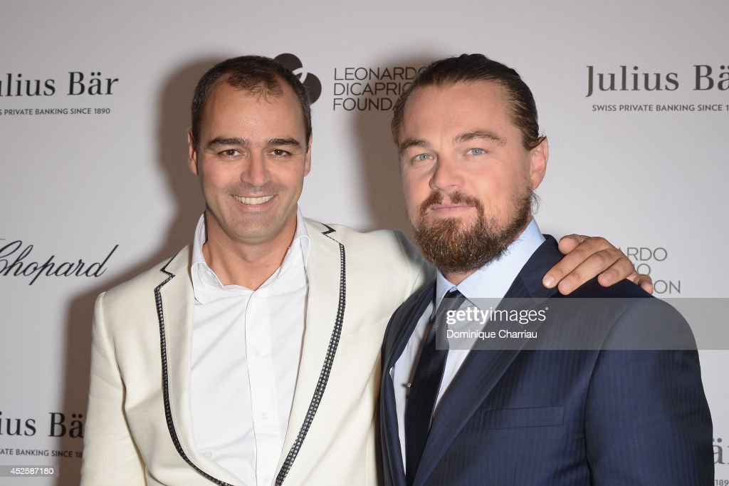 Milutin Gatsby and <a gi-track='captionPersonalityLinkClicked' href=/galleries/search?phrase=Leonardo+DiCaprio&family=editorial&specificpeople=201635 ng-click='$event.stopPropagation()'>Leonardo DiCaprio</a> attend the Leonardo Dicaprio Gala at Domaine Bertaud Belieu on July 23, 2014 in Saint-Tropez, France.