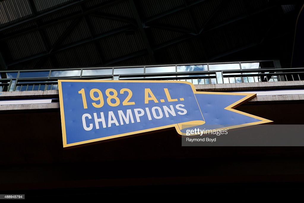 Milwaukee Brewers 1982 AL Champions marker inside Miller Park home of the Milwaukee Brewers baseball team on September 13 2015 in Milwaukee Wisconsin