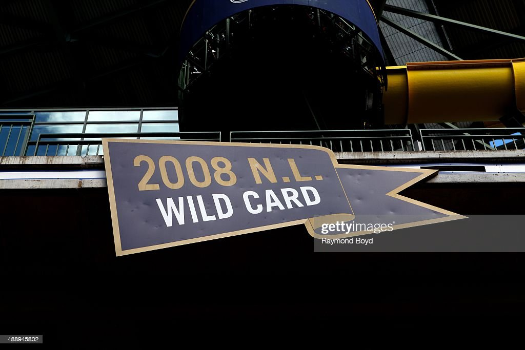 Milwaukee Brewers 2008 NL Wild Card marker inside Miller Park home of the Milwaukee Brewers baseball team on September 13 2015 in Milwaukee Wisconsin