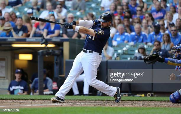 Milwaukee Brewers batter Travis Shaw hits a gamewinning tworun home run in the 10th inning against the Chicago Cubs on Saturday Sept 23 2017 at...
