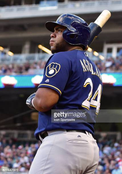Milwaukee Brewers First base Jesus Aguilar stands in the on deck circle during a MLB game between the Minnesota Twins and Milwaukee Brewers on August...