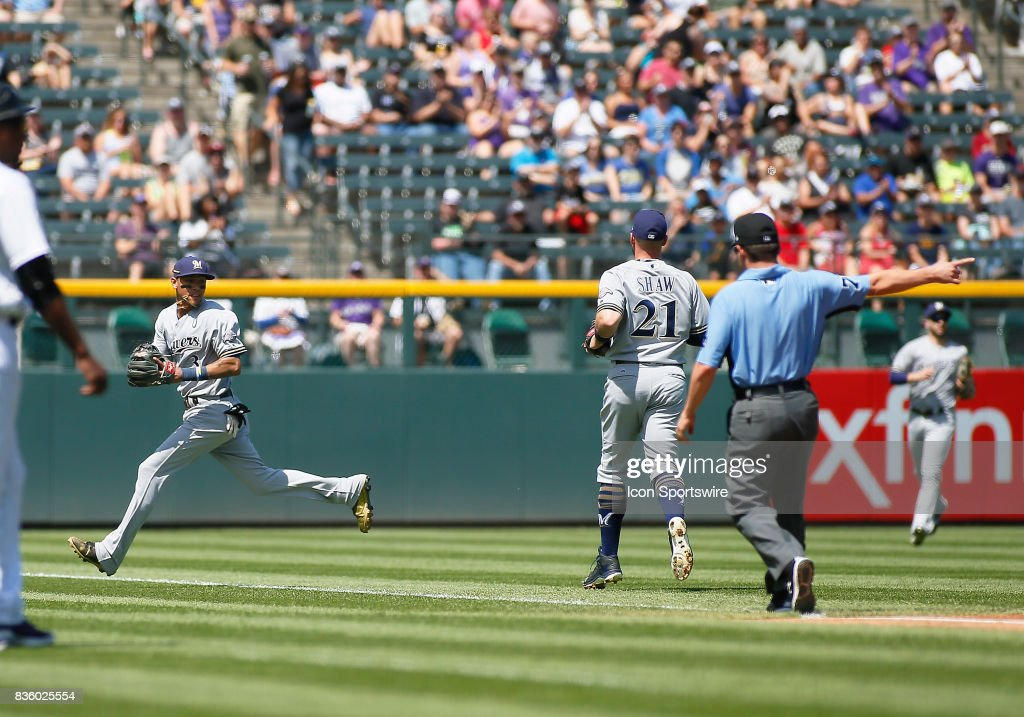Milwaukee Brewers Infielder, Orlando Arcia (3) fields a bloop single during a regular season MLB game between the Colorado Rockies and the visiting Milwaukee Brewers on August 20, 2017 at Coors Field in Denver, CO.
