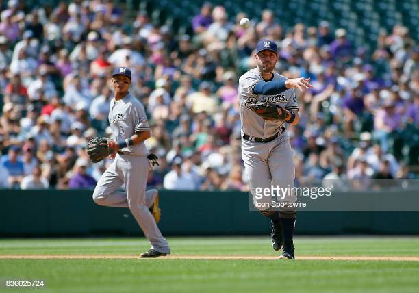 Milwaukee Brewers Infielder Travis Shaw fields a ground ball during a regular season MLB game between the Colorado Rockies and the visiting Milwaukee...