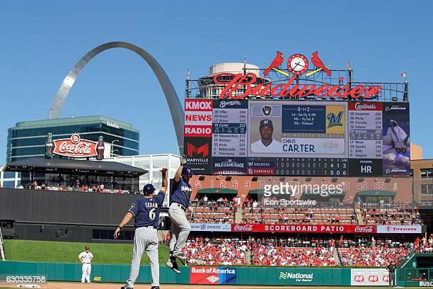 Milwaukee Brewers left fielder Ryan Braun as seen around third base after hitting a home run in the top of the 9th inning against the St Louis...