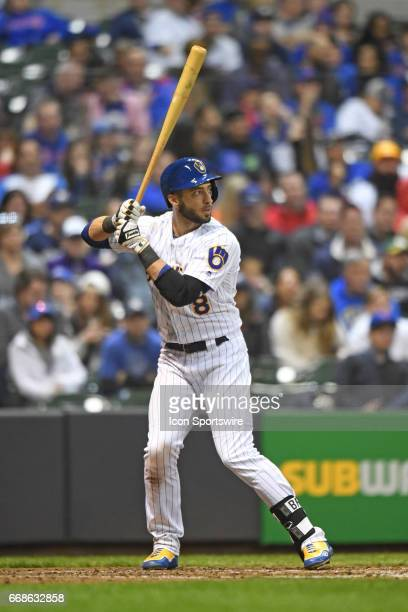 Milwaukee Brewers left fielder Ryan Braun at bat during a game between the Chicago Cubs and the Milwaukee Brewers on April 7 at Miller Park in...