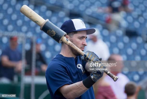 Milwaukee Brewers left fielder Ryan Braun before a MLB game between the Washington Nationals and the Milwaukee Brewers on July 25 at Nationals Park...