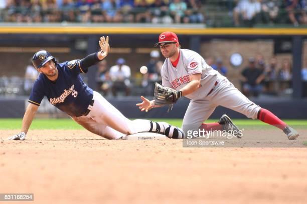Milwaukee Brewers left fielder Ryan Braun calls for time as Cincinnati Reds second baseman Scooter Gennett bobbles a ball during a game between the...