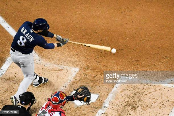 Milwaukee Brewers left fielder Ryan Braun grounds out during an MLB game between the Milwaukee Brewers and the Washington Nationals on July 26 at...