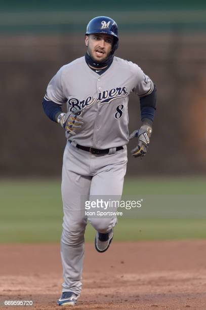 Milwaukee Brewers Left fielder Ryan Braun rounds the bases after a two run homerun in the 1st inning during an MLB game between the Milwaukee Brewers...