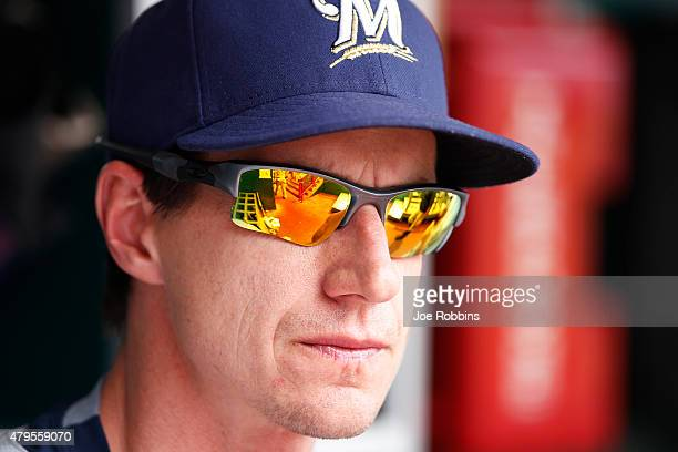 Milwaukee Brewers manager Craig Counsell looks on during the game against the Cincinnati Reds at Great American Ball Park on July 5 2015 in...