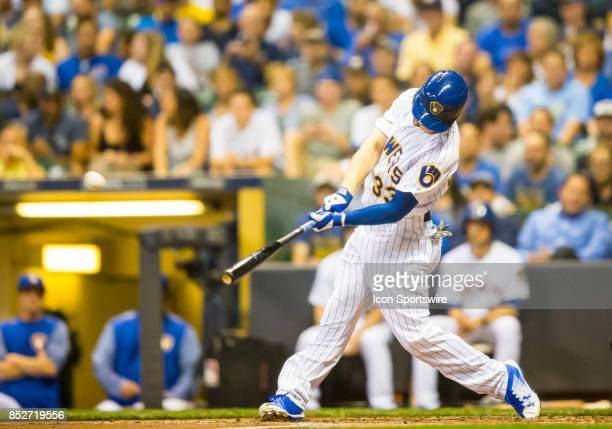 Milwaukee Brewers Outfield Brett Phillips hits a home run during the second game of the final home series between the Milwaukee Brewers and the...
