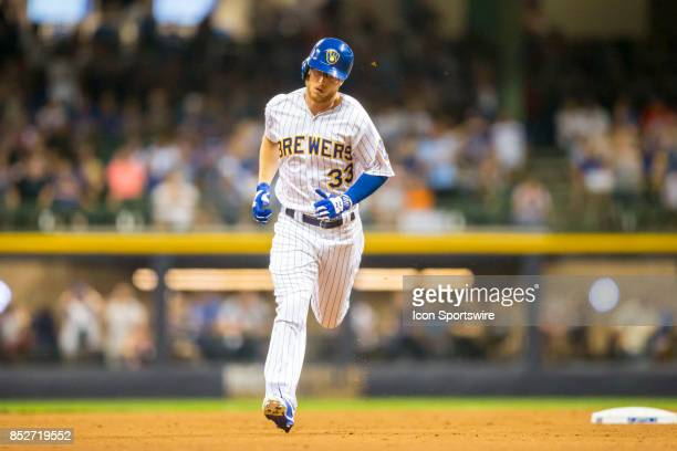 Milwaukee Brewers Outfield Brett Phillips rounds the bases following his home run hit during the second game of the final home series between the...