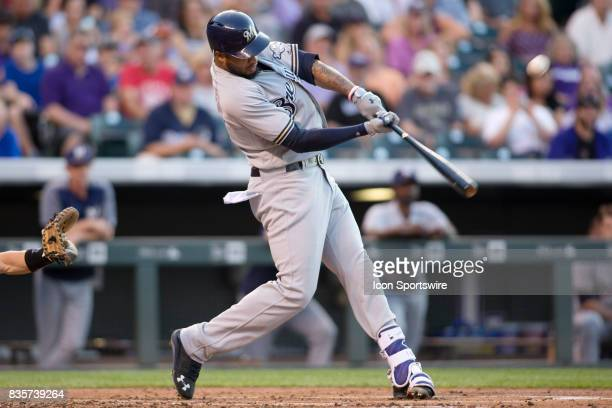 Milwaukee Brewers outfielder Domingo Santana hits a home run during the Colorado Rockies game vs the Milwaukee Brewers on August 18 2017 at Coors...