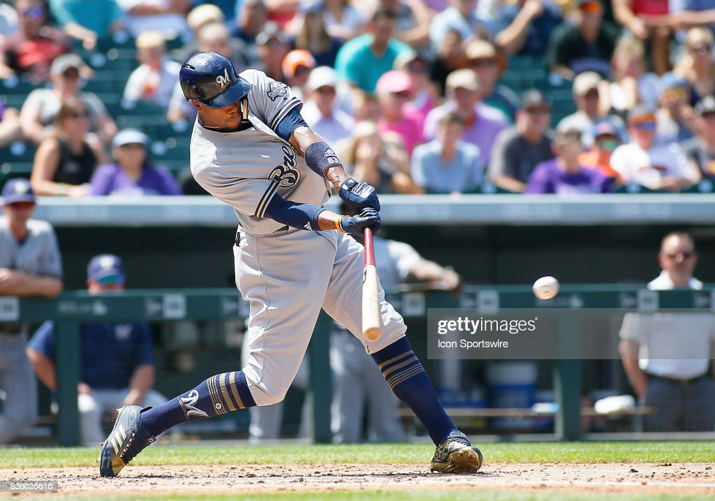 Milwaukee Brewers Outfielder, Keon Broxton (23) bats during a regular season MLB game between the Colorado Rockies and the visiting Milwaukee Brewers on August 20, 2017 at Coors Field in Denver, CO.