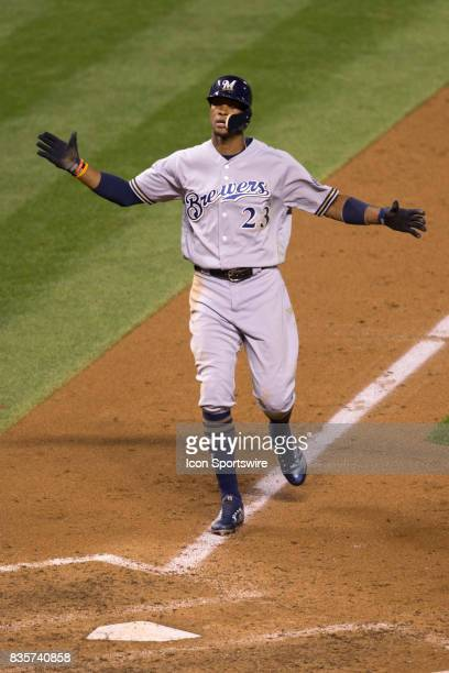 Milwaukee Brewers outfielder Keon Broxton celebrates after hitting a home run during the Colorado Rockies game vs the Milwaukee Brewers on August 18...