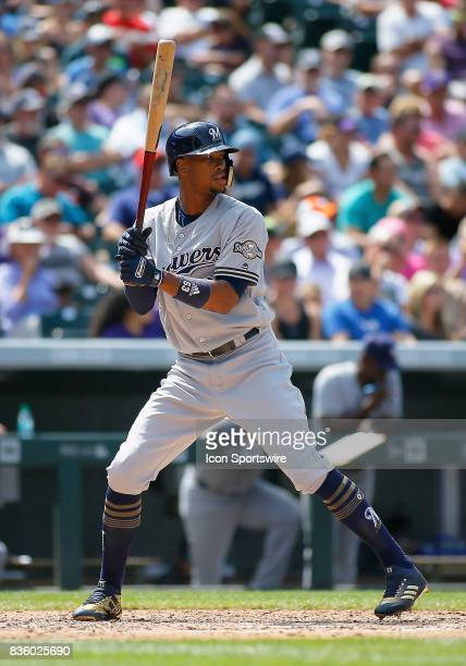 Milwaukee Brewers Outfielder Keon Broxton during a regular season MLB game between the Colorado Rockies and the visiting Milwaukee Brewers on August...