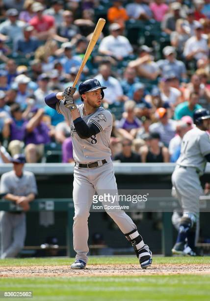 Milwaukee Brewers Outfielder Ryan Braun bats during a regular season MLB game between the Colorado Rockies and the visiting Milwaukee Brewers on...