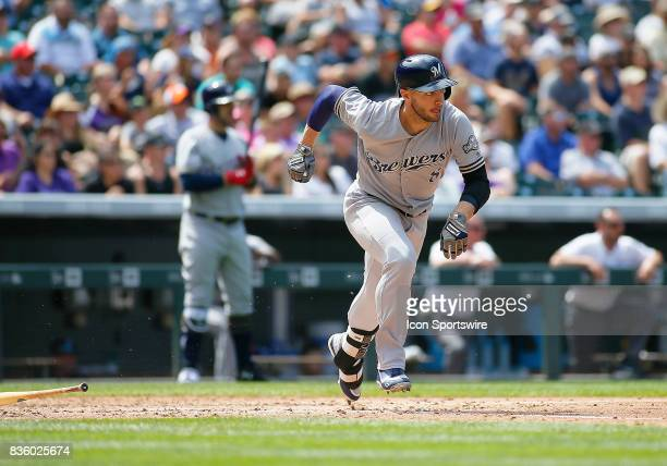 Milwaukee Brewers Outfielder Ryan Braun connects for a base hit during a regular season MLB game between the Colorado Rockies and the visiting...