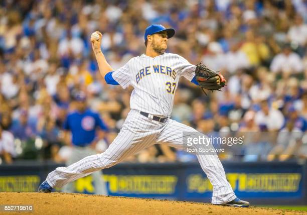 Milwaukee Brewers Pitcher Anthony Swarzak during the second game of the final home series between the Milwaukee Brewers and the Chicago Cubs on...