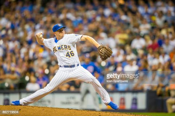 Milwaukee Brewers Pitcher Corey Knebel during the second game of the final home series between the Milwaukee Brewers and the Chicago Cubs on...