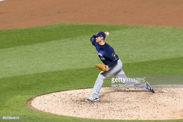 Milwaukee Brewers Pitcher Jared Hughes delivers a pitch during a regular season MLB game between the Milwaukee Brewers and the New York Mets on May...
