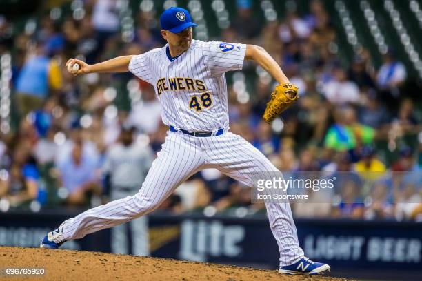 Milwaukee Brewers Pitcher Jared Hughes throws a pitch durning an MLB game between the San Diego Padres and the Milwaukee Brewers on June 16th at...