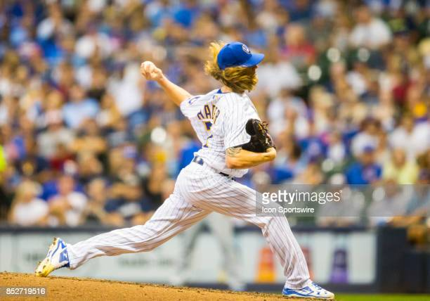 Milwaukee Brewers Pitcher Josh Hader during the second game of the final home series between the Milwaukee Brewers and the Chicago Cubs on September...