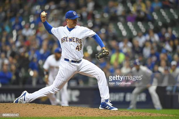 Milwaukee Brewers relief pitcher Jared Hughes pitches during a game between the Chicago Cubs and the Milwaukee Brewers on April 7 at Miller Park in...