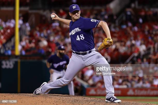 Milwaukee Brewers relief pitcher Jared Hughes throws during the sixth inning of a baseball game against the St Louis Cardinals June 14 at Busch...
