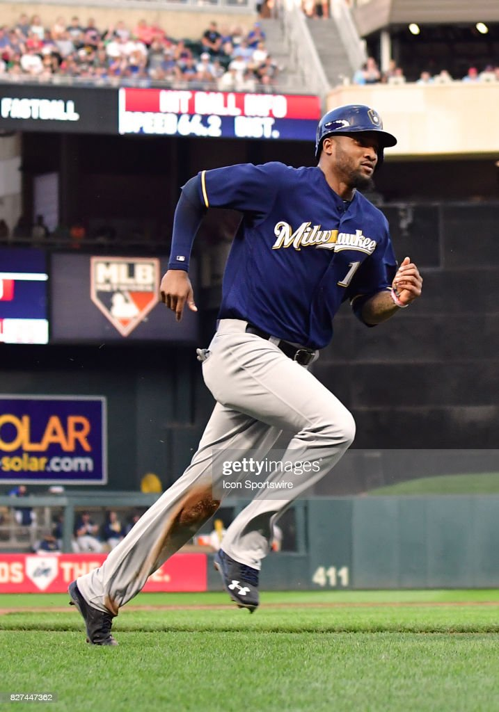 Milwaukee Brewers Right field Domingo Santana (16) heads for home during a MLB game between the Minnesota Twins and Milwaukee Brewers on August 7, 2017 at Target Field in Minneapolis, MN. The Twins defeated the Brewers 5-4.