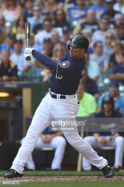 Milwaukee Brewers second baseman Neil Walker hits during a game between the Milwaukee Brewers and Washington Nationals on September 3 2017 at Miller...