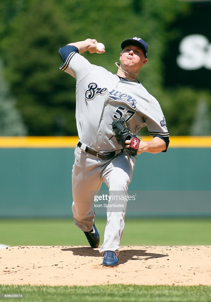 Milwaukee Brewers Starting Pitcher, Chase Anderson (57) pitches during a regular season MLB game between the Colorado Rockies and the visiting Milwaukee Brewers on August 20, 2017 at Coors Field in Denver, CO.